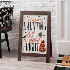 Wish all your neighborhood happy haunts a successful Halloween! This Happy Haunting Porch Easel will take your Halloween porch decor to the next level. Halloween Porch Decorations, Halloween Home Decor, Cute Halloween, Holidays Halloween, Vintage Halloween, Holiday Decorations, Halloween Table, Vintage Witch, Vintage Holiday