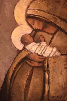 Mother and Child (Naples Yellow), J Kirk Richards Religious Icons, Religious Art, Lds Art, Mama Mary, Blessed Mother Mary, Mary And Jesus, Holy Mary, Madonna And Child, Catholic Art