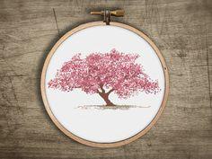 asian cherry blossom tree cross stitch pattern ++ vintage retro modern ++ pdf INsTAnT DOwNLoAD ++ diy ++ hipster ++ handmade design