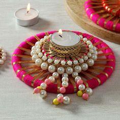 Tea-light Candle with Decorative Platter Arti Thali Decoration, Diwali Decoration Items, Diya Decoration Ideas, Diwali Decorations At Home, Stage Decorations, Diwali Craft, Diwali Gifts, Diwali Diya, Ganesh Chaturthi Decoration