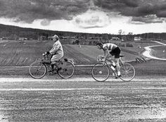 Dalarna, Sweden, 1967. An old lady on her way to the store is caught in the middle of a race. photo: Lasse Olsson, Dagens Nyheter. - Imgur