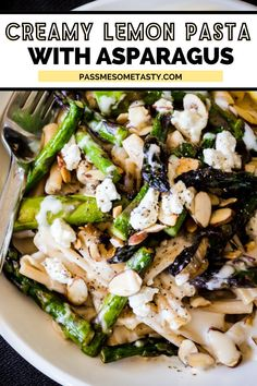 Gluten-free casarecce pasta (or any pasta you like!) is tossed in a creamy, lemony goat cheese sauce with sautéed asparagus & toasted almonds. An easy, incredibly tasty 30-minute meal perfect for family or guests! Serve with chicken, steak, shrimp, or just as is for a simple dinner. Yummy Pasta Recipes, Delicious Dinner Recipes, Casserole Recipes, Healthy Recipes, Asparagus Pasta, Lemon Pasta, Healthy Weeknight Meals, Easy Meals, Toasted Almonds