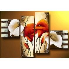 """Scents of Callas"" not framed Hand-Painted Modern Floral Oil Paintings on Canvas Wall Art Set cuadros decoracion picture. Product ID: Modern Oil Painting, Oil Painting Abstract, Oil Paintings, Flower Paintings, Tole Painting, Wall Painting Decor, Wall Art Decor, Room Decor, Wall Decorations"