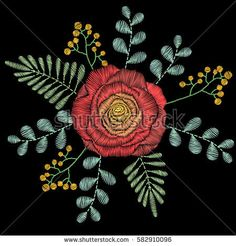Embroidery stitches with spring flowers, wildflowers, rose, grass, branches. Vector fashion ornament on black background for textile, fabric traditional folk floral decoration
