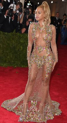 Beyoncé wore a crystal-studded Riccardo Tisci by Givenchy gown at the 2015 Met Gala.