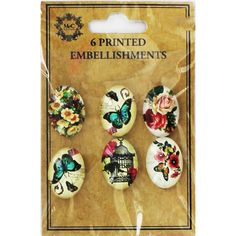 Printed Dome Embellishments - Pack Of 6  | Jewellery Making Kits at The Works