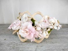 Vintage soft pink Millinery flower Hat Band by houuseofwren,
