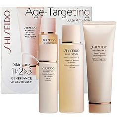 Shiseido Skincare 1 2 3 Benefiance WrinkleResist24 by Shiseido. $60.00. **No U.S. Sale Tax** Extra Creamy Cleansing Foam 2.6oz + Balancing Softener Enriched 3.3oz + Day Emulsion SPF 15 PA++ 1oz. Shiseido BENEFIANCE WrinkleResist24 Age-Targeting 1-2-3 Kit. New in Box. What it is:An introductory kit featuring Shiseido's Benefiance WrinkleResist24 age-targeting cleansing foam, softener, and day moisturizer with SPF sun protection.What it does:Newly reformulated, Shiseid...