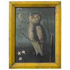 Folk Painting of an Owl | Jeffrey Tillou Antiques
