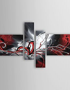 Oil Paintings Set of 4 Modern Abstract Reds Flowing Lines Ha... – USD $ 91.99