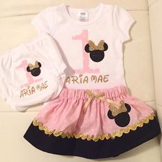Minnie Mouse inspired personalized birthday pink black and gold 1st birthday set, skirt, shirt and diaper cover by EverAfterFairytales on Etsy https://www.etsy.com/listing/212782746/minnie-mouse-inspired-personalized