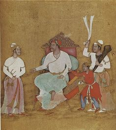 """Portrait of an Ahmadnagar Ruler Artist: Attributed to """"Paris painter"""" Object Name: Single Work Date: ca. 1565–95 Geography: India, Deccan, Ahmadnagar Culture: Islamic Medium: Ink, opaque watercolor, and gold on paper Dimensions: Image (?): 9 1/4 × 8 1/16 in. (23.5 × 20.5 cm) Frame: 15 3/16 × 9 5/8 × 1 1/8 in. (38.5 × 24.5 × 2.8 cm) Classification: Codices Credit Line: Bibliothèque Nationale de France"""