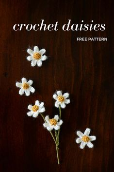 FREE crochet daisy pattern & a tutorial for making stems for your crochet flowers Crochet Puff Flower, Crochet Daisy, Crochet Flower Tutorial, Crochet Flower Patterns, Flower Applique, Crochet Motif, Crochet Designs, Crochet Flowers, Crochet Hooks