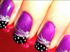 purple and black french polkadot nails
