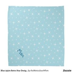 Blue 1950s Retro Star Design Pattern Petwear Bandana