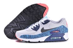 new style 5caf6 b8a1b Womens Nike Air Max 90 Geyser Grey Dark Grey Wolf Grey Brave Blue Shoes  Free Running