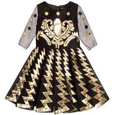 Cesare Paciotti Girls Black & Gold Dress at Childrensalon.com