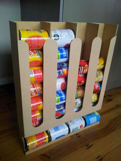 Salvage creations: Canned goods organiser Canned Good Storage, Can Storage, Food Storage, Storage Ideas, Survival Shelter, Survival Prepping, Survival Gear, Survival Quotes, Wilderness Survival