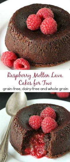These grain-free Raspberry Molten Lava Cakes make the perfect Valentine's Day dessert for two! They're also gluten-free, 100% whole grain and dairy-free. Can also be made with whole wheat flour.