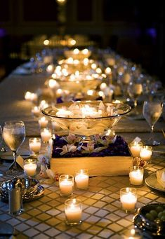 Love the patterned table cloth and the candles!