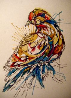 Com linhas orgânicas que se complementam e lindos splashes de aquarela, Abby Diamond voa alto ilustrando seus pássaros: http://zupi.com.br/x4Mg