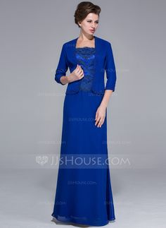 Sheath/Column Square Neckline Floor-Length Chiffon Charmeuse Mother of the Bride Dress With Lace Beading Sequins (008025767) - JJsHouse
