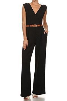 b5147f686b8 High Quality Womens Sexy Plunge V Neck Belted Wide Leg Jumpsuits Dress  Small Black