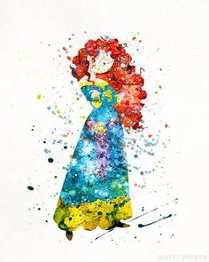 Decorate Your Child's Room with Disney Decorations Watercolor Disney, Watercolor Art, Disney Love, Disney Art, Merida Disney, Brave Merida, Disney Prices, Princess Merida, Tangled Princess