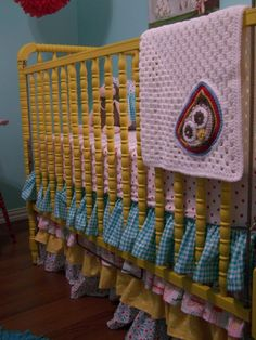 Jenny Lind crib and ruffle crib skirt.....so girly   crochet blanket instead of quilt