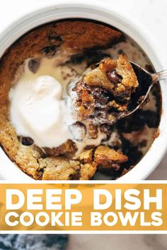 Deep Dish Cookie Bowls! Doesn't get better than this. Buttery, crisped cookie ridges with a melty chocolate and slightly underdone center, served in bowls with a scoop of ice cream. YUM.