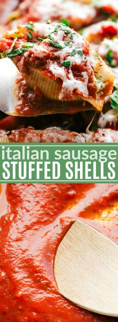 Delicious and amazing ITALIAN SAUSAGE STUFFED SHELLS! Quick & simple to make. via chelseasmessyapron.com