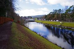 The footpath on the Caledonian Canal bordering the Abbey at Fort Augustus