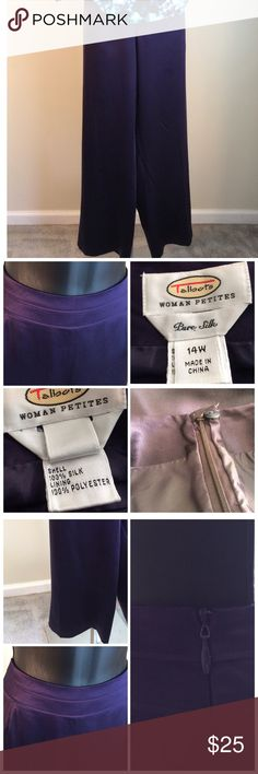 Talbots Woman's Petite Silk Pants Beautiful purple lined silk pants. Zipper and button on the side. Wide waist band. Excellent condition. Talbots Pants Trousers