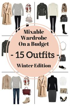 mixable wardrobe on a budget 15 outfits winter