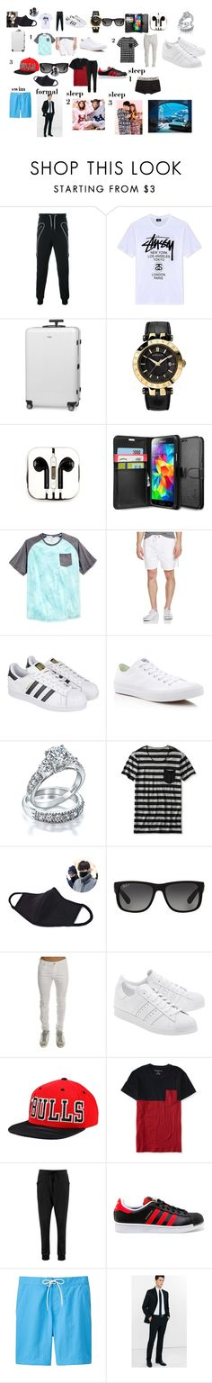 """honeymoon pt. 2"" by kpop247 on Polyvore featuring Les Hommes, Stussy, Rimowa, Versace, PhunkeeTree, Samsung, Univibe, Just A Cheap Shirt, adidas and Converse"