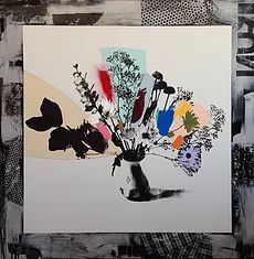 Emily Filler's paintings and mixed media art feels just right for early June. Mixed Media Art, Mix Media, Medium Art, Contemporary Artists, Flower Art, Screen Printing, Rainbow, Floral, Artwork