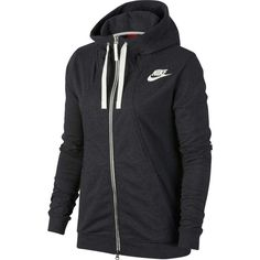 Nike Women's Gym Classic Full Zip Hoodie, Size: Medium, Black Heather