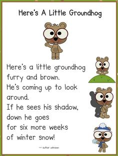 Groundhog day - 14 heads up ideas - groundhog poem - teach junkie preschool groundhog, Preschool Groundhog, Groundhog Day Activities, Preschool Songs, Kids Songs, Kindergarten Classroom, Preschool Activities, Preschool Winter, Classroom Ideas, Kindergarten Poems