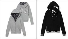 Victoria's Secret Pink - grey/black Faux Fur Hoodie