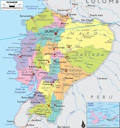 Map of ecuador ecuador south america ecuador map mapa de ecuador political map of ecuador ezilon maps gumiabroncs Gallery