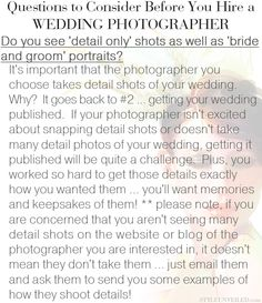 Questions to ask a wedding photographer:  Does it look like they take 'detail only shots' as well as 'bride and groom portraits'?