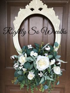 Shabby Chic rustic wall or door decor . Beautiful cream roses,cotton ,lambs ear and greenery.