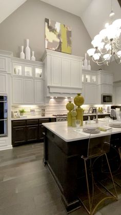 White cabinets kitchen design Two tone cabinetry with white painted uppers and dark stained lowers i White Kitchen Cabinets, Kitchen Cabinet Design, Modern Kitchen Design, Interior Design Kitchen, Home Design, Kitchen Island Quartz Countertop, Galley Kitchen Island, Black Kitchen Island, Kitchen White