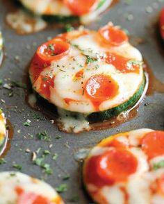 Zucchini Pizza Bites- One glance at the nutritional profile and it's pretty clear these aren't your typical pizza bites. They're also made with just five simple ingredients and will nix any craving you have for the heavy, belly-bloating boxed stuff.