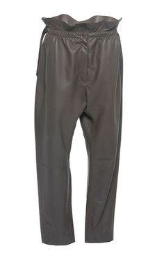 This **Nina Ricci** paperbag waist leather trousers features a cinched paperbag waist and straight leg.