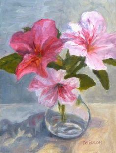 Encore Azaleas Oil Still Life Painting Flower Vase Art, painting by artist Debra Sisson