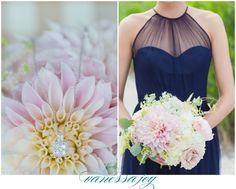 Light colors contrasting against deep navy dresses - Yes! Love these wedding florals by Mds Floral Design