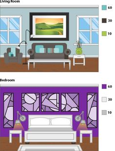 60-30-10 rule Focal Wall, Living Spaces, Living Room, Interior Decorating, Interior Design, 30th, Paint Colors, Color Schemes, Gallery Wall