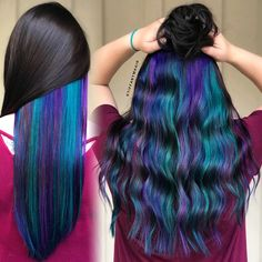 Mermaid hair underneath by with pulpriot color Meerjungfrau Haare darunter von mit pulpriot Farbe Hidden Hair Color, Cool Hair Color, Purple Hair, Ombre Hair, Hair Color Underneath, Under Hair Color, Highlights Underneath Hair, Rainbow Hair Highlights, Blue Hair