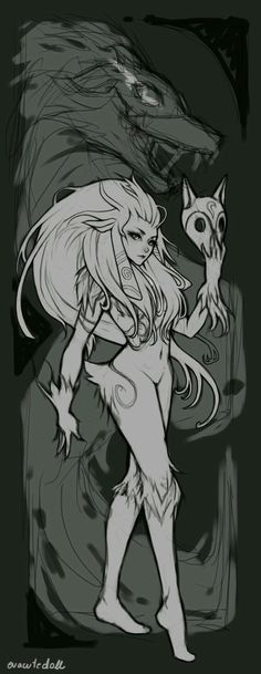 (Kindred,The Eternal Hunters,League of Legends,Лига Легенд,фэндомы) Èclaire auf Jagd Lol League Of Legends, League Of Legends Kindred, Fanart, Character Inspiration, Character Art, Photo Manga, Fantasy Creatures, Fantasy Characters, Art Reference